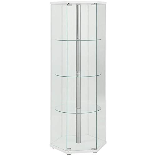 BOWERY HILL Glass Hexagonal Curio Cabinet in White and Chrome by BOWERY HILL