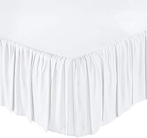 Ruffled Bed Skirt- 21 Inch Drop (King, White) Dust Ruffle with Platform (Available in All Bed Sizes and Colors)