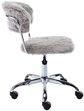 Faux Fur Task Chair Furry Home Desk Chair DM Furniture Fluffy Swivel Chair Height Adjustable For Women, Girls, Kids, Living Room, Office, Bedroom, Vanity, Dressing Room, Grey