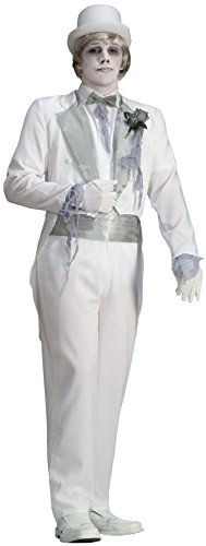 Forum Novelties Men's Ghost Groom Costume, White/Silver, One Size (Costume Victorian)