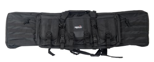Lancer Tactical 46'' MOLLE Padded Rifle Bag Exterior Pockets Travel Handling Safe Keeping Adjustable Straps Quick Detach Buckles - BLACK by Lancer Tactical