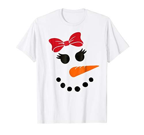 Snowgirl Snowman - Snowgirl Girl Snowman Face Red Bow Cute Christmas T-Shirt
