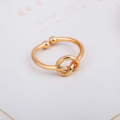 - FEDULK Women Simple Jewelry Rings Creative Design Love Knot Open Adjustable Ring Novelty Gifts(Gold, One Size)