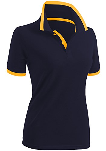 CLOVERY Women's Comfortable Fabric Short Sleeve Polo Shirts Navy US M/Tag M