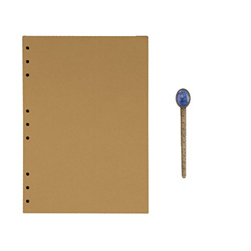 9 Ring Refillable Paper B5 Size Lined/Blank/Kraft Paper 100 Sheets for Portfolio Notepad, Spiral Bound Notebook, Travel Jounral Diary Inserted Page