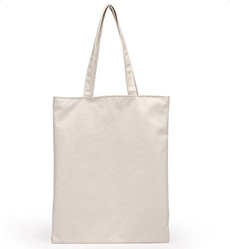 Da.Wa Mode Femmes Jeunes Filles shopping Sac à toile principale Épaule fourre-tout Shopper Sac de Plage Blanc