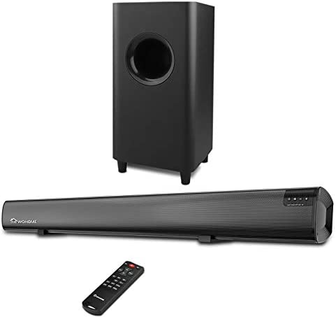Sound Bar,Wohome 2.1 channel 120W TV Soundbar,5.5-inch Subwoofer,34 inch wired & Wireless 5.0 Bluetooth Speaker,HDMI/Optical/Aux/USB,DSP Technology,Built-in 4 Speakers Wall Mountable Model S18