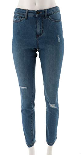 Studio Denim & Co Petite Denim Ankle Jeans Indigo Antique Wash 14P New A304476 ()