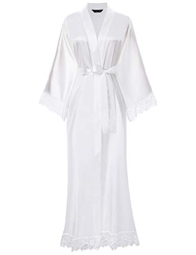 BABEYOND Satin Kimono Robe Long Bridesmaid Wedding Bath Robe with Lace Trim (White)