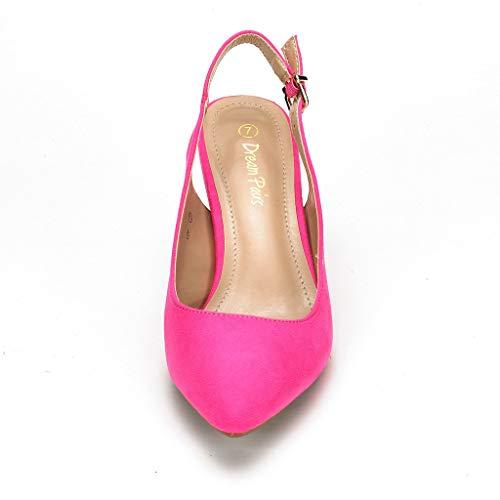 DREAM PAIRS Women's LOP Fuchsia Suede Low Heel Pump Shoes