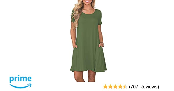 3d2cd19bb541 KORSIS Women s Summer Casual T Shirt Dresses Short Sleeve Swing Dress with  Pockets at Amazon Women s Clothing store