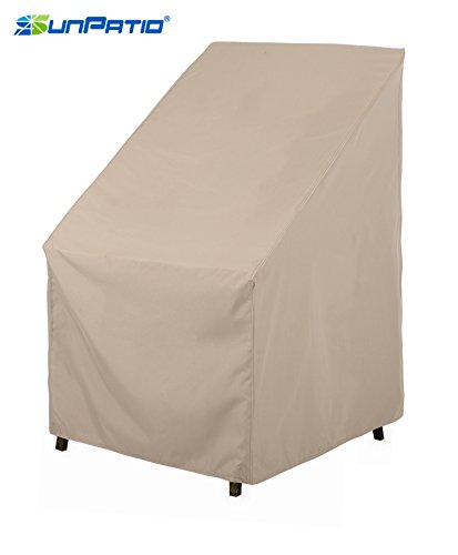 SunPatio Outdoor High Back Chair, Lightweight, Water Resistant, Eco-Friendly, Helpful Air Vent, All Weather Protection, Beige, 27