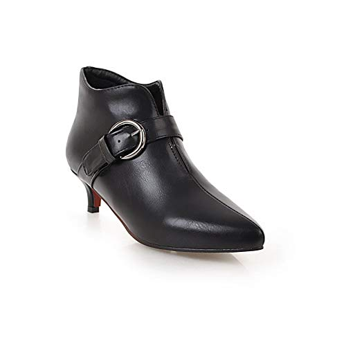 Womens Fashion Closed Pointy Toe Ankle Boots MId Kitten Heel Stiletto Booties Upper Buckle Pumps