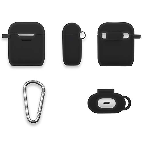 GMYLE AirPods Case Cover with Keychain, [Front LED Visible] Silicone Full Protective Wireless Charging Airpods Earbuds Case Cover Skin Accessories kit Set Compatible for Apple AirPod 2 & 1 – Black