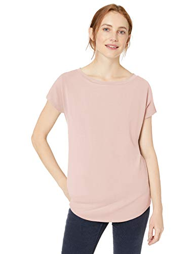 Amazon Brand - Daily Ritual Women's Cozy Knit Dolman-Sleeve Boat-Neck Shirt, Pink,Large