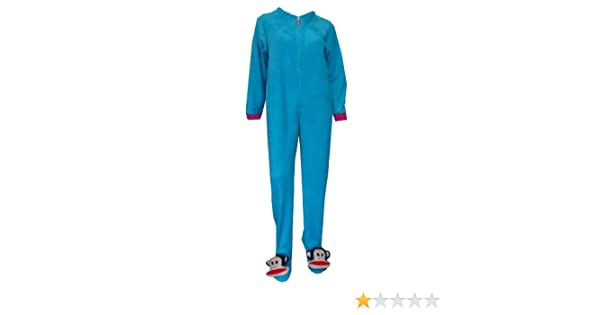 Paul Frank Julius Blue Fleece One Piece Footie Pajama for women at Amazon Womens Clothing store: