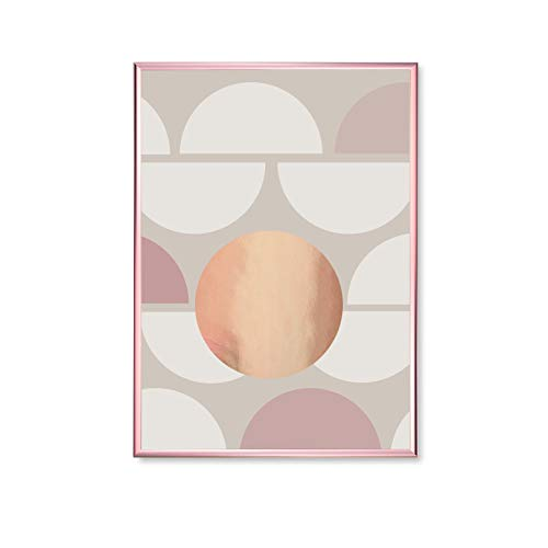(MalertaART Beige Pink Half Circles Pattern Shapes Shapes Print Geometric Poster Home Decor Modern Art Poster Gold Circles Print Real Gold Foil Framed Wall Art)