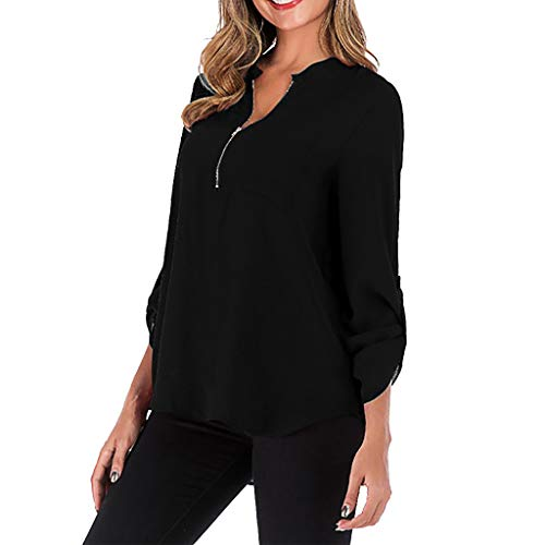 Toimothcn Long Sleeves Tunic, Women Solid Plus Size Zipper Blouse Shirt Top with Pocket (Black,L)