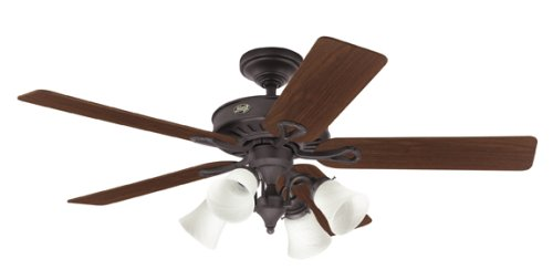 ceiling fans with four lights. Contemporary Lights Hunter 20347 Westbury 4Light 54Inch 5 WalnutMedium Oak Blades Ceiling And Fans With Four Lights I