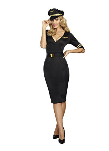 Dream Girl Couples Costumes (Dreamgirl Women's  Flight Captain, black, L)