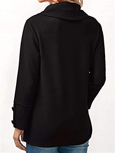Donna Alto Vintage Irregular Asimmetrica Schwarz Moda Accogliente Camicetta Autunno Abbigliamento Tops Blusa Button Lunga Collo Pullover Eleganti Manica Casual Primaverile p0prBqS