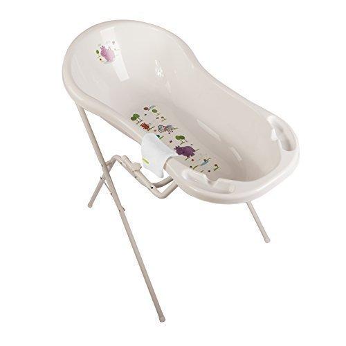 Hippo weiß Baby Badewanne XXL 100 cm + Badewannenständer + Waschhandschuh OKT Kids