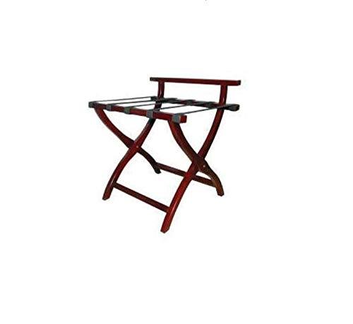 (CGS Hospitality Supply Luggage Rack Wood Folding Back Rest Bar Mahogany Color Nylon Straps 24
