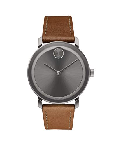 Brown Sunray Dial - Movado Men's BOLD Evolution Gunmetal Watch with a Flat Dot Sunray Dial, Grey/Brown (Model 3600506)