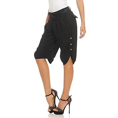Missis Shop Mujer Capri 100% Lino Bermuda Suelta Pantalones Cortos con cinturón y Botones: Ropa y accesorios
