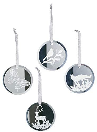 Sullivans - Discos de Espejo con Adornos navideños de Vidrio, diseño de Animales de la Naturaleza, Juego de 20 en 4...