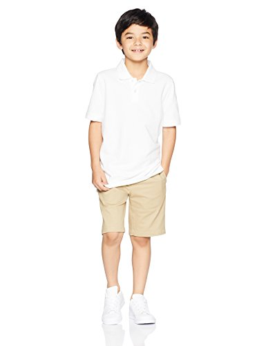 Amazon Essentials Boys' 5-Pack Short-Sleeve Uniform Pique Polo, White Pack, XL (12) by Amazon Essentials (Image #2)