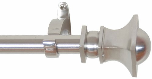 RuLu 28076 28 by 48-Inch Half Round Nickel Curtain Rod with 0.75-Inch Pipe