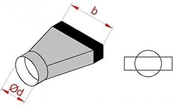 Flachkanal /Übergangsst/ück auf Wickelfalzrohr B B: 180 // DN 125 100 140 180 220 300 mm DN 80 100 125 150 160 200 mm symmetrisch