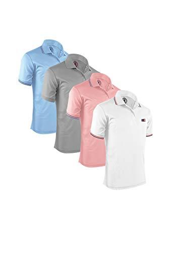 (Albert Morris Men Polo Shirt 4 Pack - Tropical Pack, Short Sleeve (X-Large))
