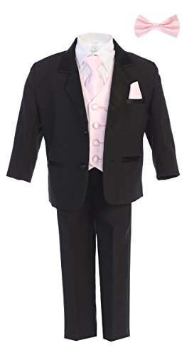 Little Gents 7928 Boys Black Tuxedo Set w/Bow Tie & Necktie (12, Pink)