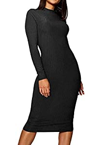 ZileZile Women's Winter Casual Bodycon Slim Fit Ribbed Turtleneck Long Sleeve Midi Sweater Dress