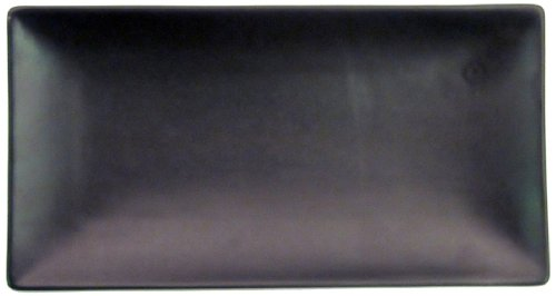 CAC China 666-13-BK Japanese Style 11-1/2-Inch by 6-1/2-Inch Non Glare Glaze Black Rectangular Platter, Box of 12 by CAC China