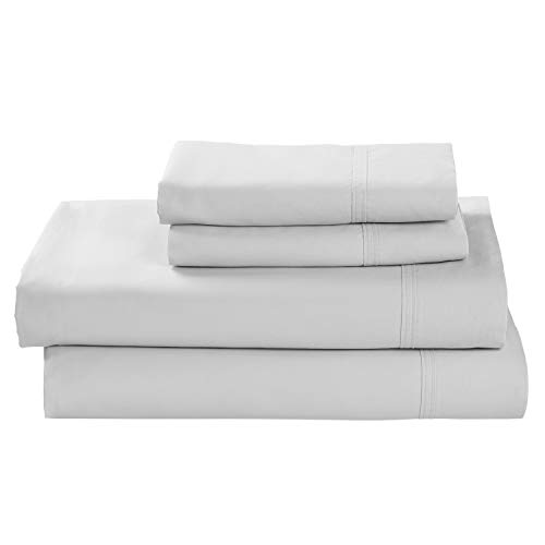 Easy Care White King - Rivet Percale 100% Organic Cotton Bed Sheet Set, Easy Care, King, White