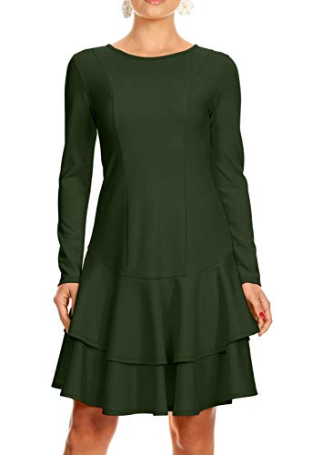 Dropped Waist Wedding Dress - Simlu Long Sleeve Bodycon Dresses for Women with Ruffle Hem - Made in USA (Size Large, Olive)