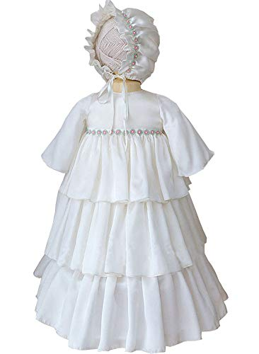 Michealboy Baby Robe Baptism Dresses Infant Christening Gown Beaded with Bonnet White 2T ()