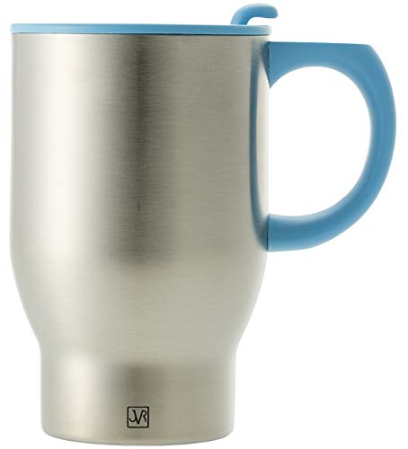 JVR Stainless Steel Travel Coffee Mug with Handle and Lid | Double Wall Vacuum Insulated Mug | Portable Coffee Mug Fits in Car Cup Holder | 14 oz (390 ml) ()