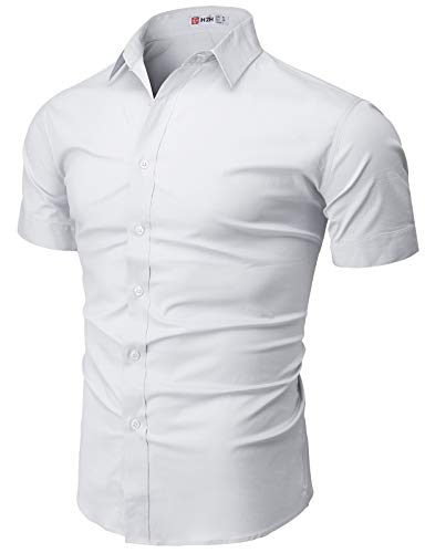 H2H Mens Casual Slim Fit Button-Down Dress Shirts Short Sleeves Solid Colors White US L/Asia XL (KMTSTS0135)
