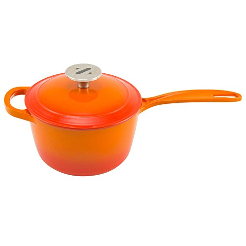 Zelancio Enameled 2-Quart Cast Iron Sauce Pan, Pot with Lid. Perfect as a Bean Pot, Spaghetti Sauce Pot, Barbecue Sauce Pot, or Pasta Sauce Pot, Tangerine Orange