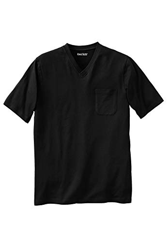 KingSize Men's Big & Tall Lightweight Cotton V-Neck Tee Shirt with Pocket, Black Big-5XL