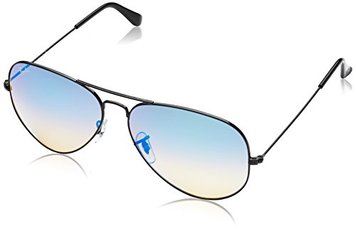 Ray-Ban 3025 Aviator Large Metal Mirrored Non-Polarized Sunglasses, Shiny Black/Mirror Gradient Blue (002/4O), 62mm (Colorful Ray Bans)