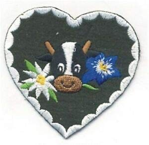 VirVenture Holstein Cow Edelweiss Heart Embroidery Patch Great for Hats, Backpacks, and Jackets.