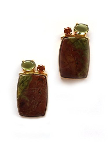 Hessonite Garnet Earrings - 14k Yellow Gold Earrings with Green Tourmaline, Hessonite Garnet and Jasper