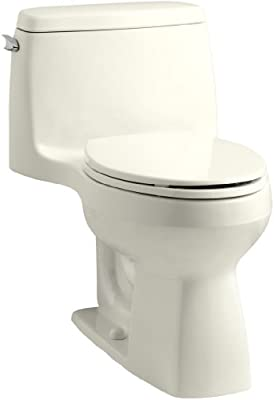 KOHLER 3811-96 Santa Rosa Comfort Height Elongated 1.6 GPF Toilet with AquaPiston Flush Technology and Left-Hand Trip Lever, Biscuit