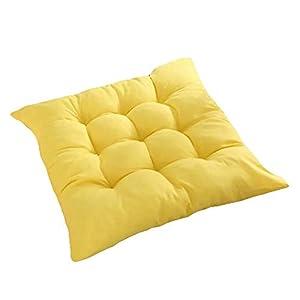 Bledyi, cuscino quadrato, comodo e resistente, per sedie da pranzo, da giardino, 40 x 40 cm Giallo. 10 spesavip
