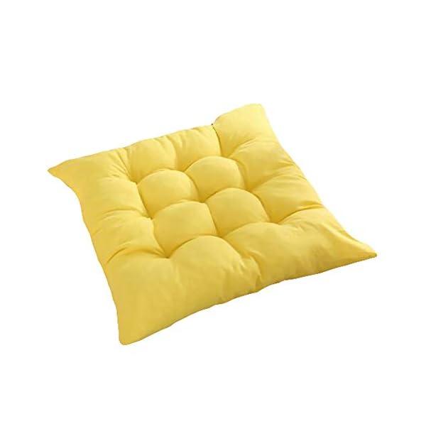 Bledyi, cuscino quadrato, comodo e resistente, per sedie da pranzo, da giardino, 40 x 40 cm Giallo. 1 spesavip
